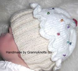 white - cup cake baby hat