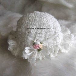 Crochet newborn hat - Triple Rose Brimmed Hat