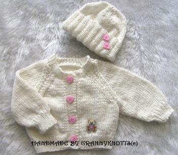 Hand knitted matinee coats -Raglan Cardigan & Hat - Michael 2200