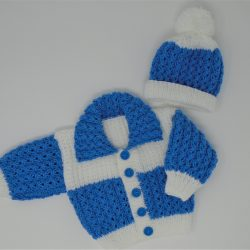 Blue & White cardi set