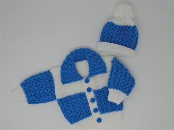 Blue & White cardi set