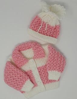 Pink & White Cardigan & Hat