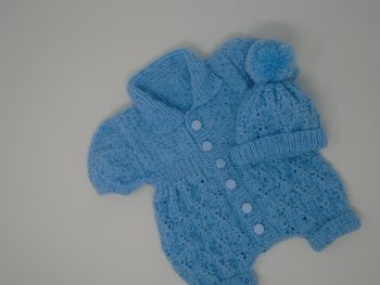 Knitted All In One Baby Outfit (Short Sleeved) and Hat in various colours
