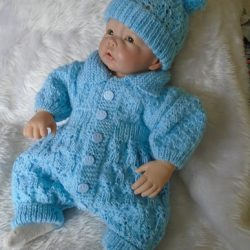 Knitted All In One Baby Outfit (Short Sleeved) and Hat - Light Blue