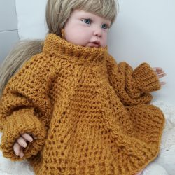 Hand Knitted Poncho with Cuffs