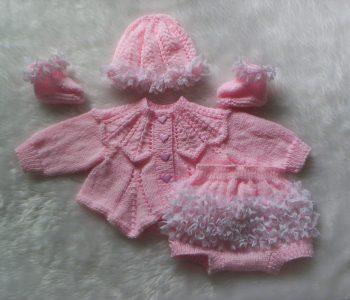 4 Piece Pink Set - Knitted Premature baby outfit with Cardigan Jacket - Pants and Hat