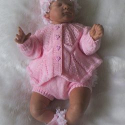 Pink - Knitted Premature baby outfit with Cardigan Jacket - Pants and Hat