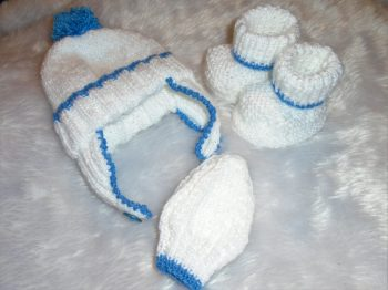 Blue - Hand Knitted Helmet, Mittens and Booties Gift Set