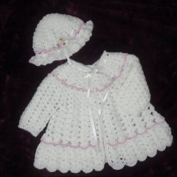 White - Crochet Baby Coat and Hat