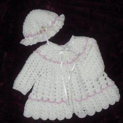 White - Crochet Baby Coat and Hat