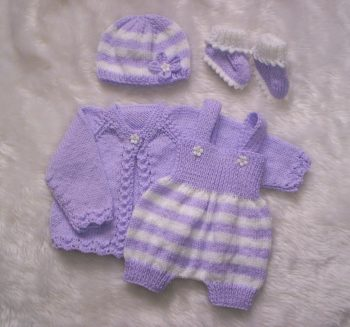 LT-Lilac Outfit - Smart Little Jacket, Romper Matching Hat And Booties