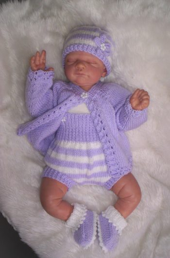 LT-Lilac Outfit - Smart Little Jacket, Romper Matching Hat And Booties model
