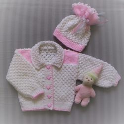 Hand Knitted Baby Jacket and Hat Set