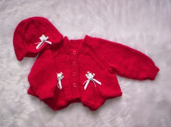 Red Knitted Baby Cardigan And Beanie Hat