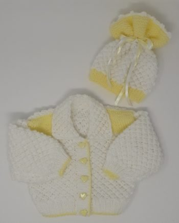 Lemon and White Cardi and Hat