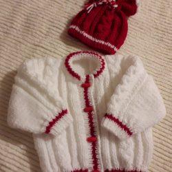 White and Red Aran Set